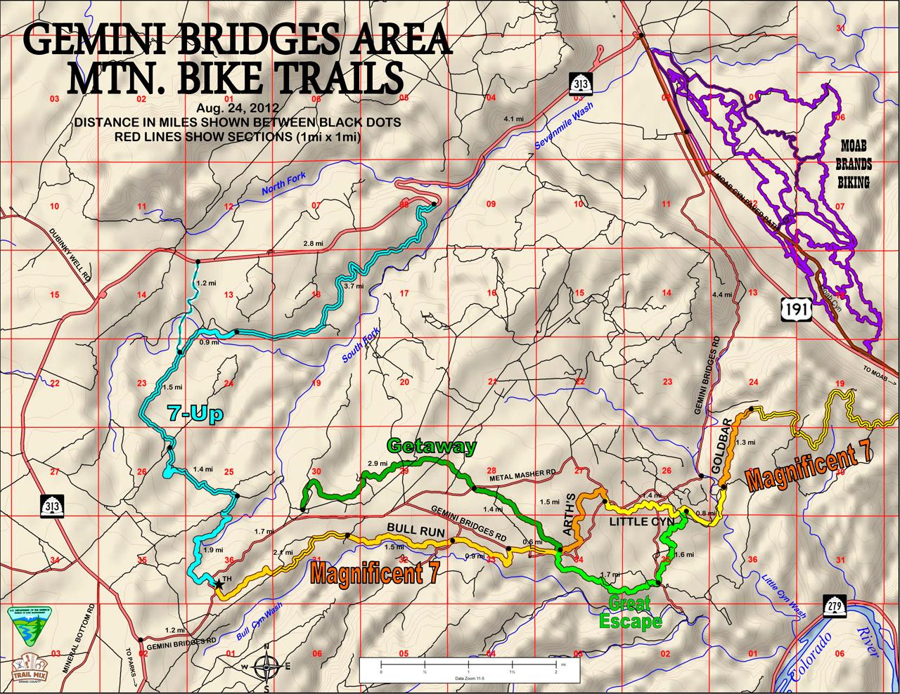 Gemini Bridge Area Trails, Moab Utah - 7-UP, Magnificent 7, Getaway