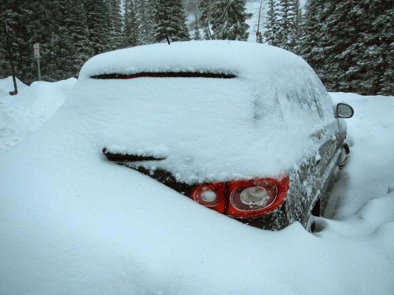 car buried under snow Snowbird Utah