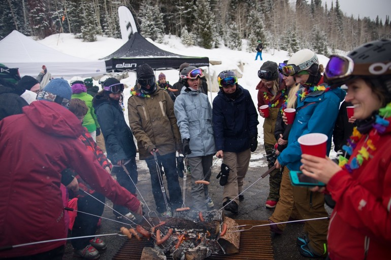 Solitude International Women's Ski Day - hotdog roasting