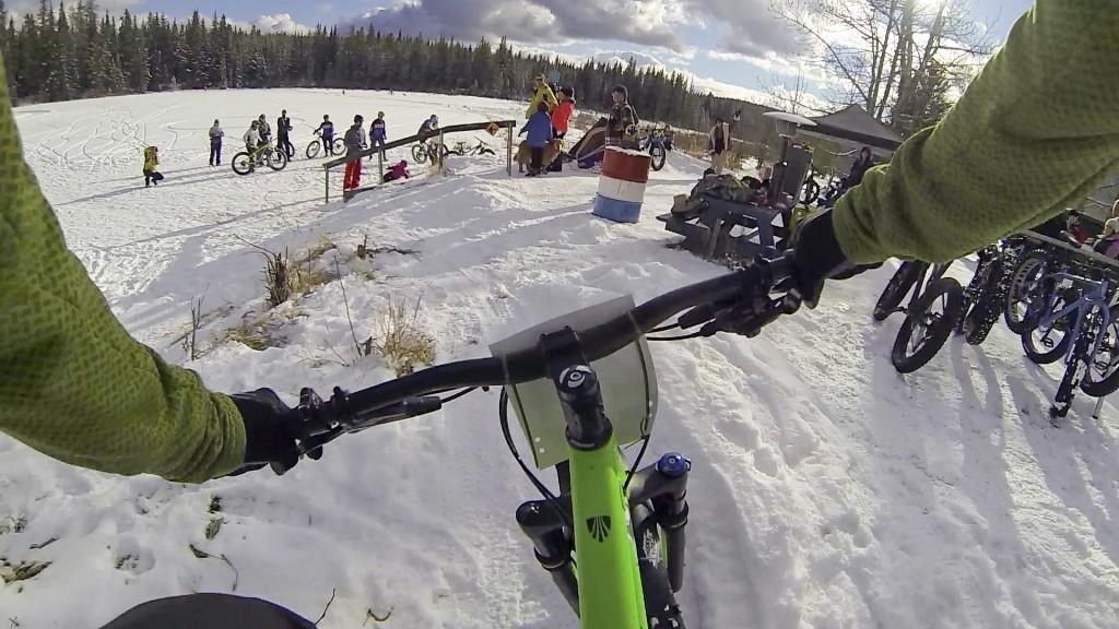 Hinton Alberta Canada Winter Magic Fat Bike - Coming into the finish
