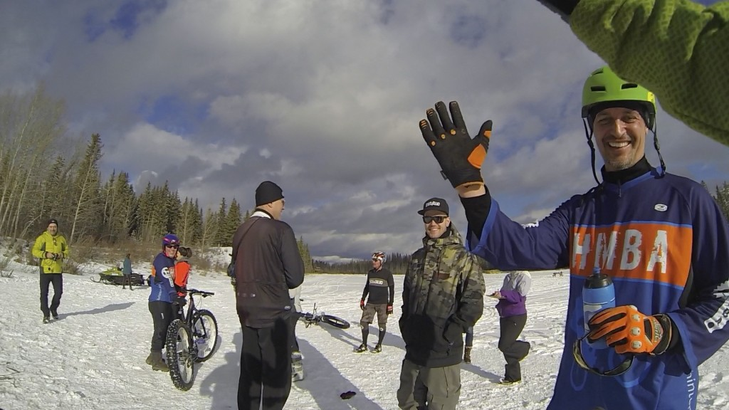 Hinton Alberta Canada Winter Magic Fat Bike - high fives with Mike L