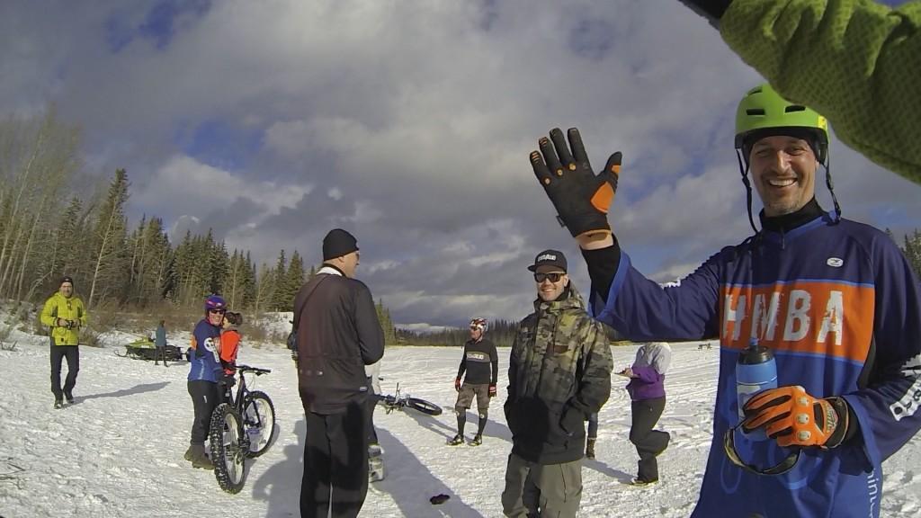 Hinton Alberta Canada Winter Magic Fat Bike - high fives with Mike L