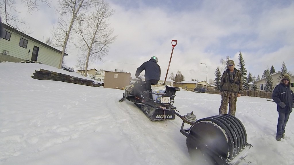 Hinton Alberta Canada Winter Magic Fat Bike - sled and groomer